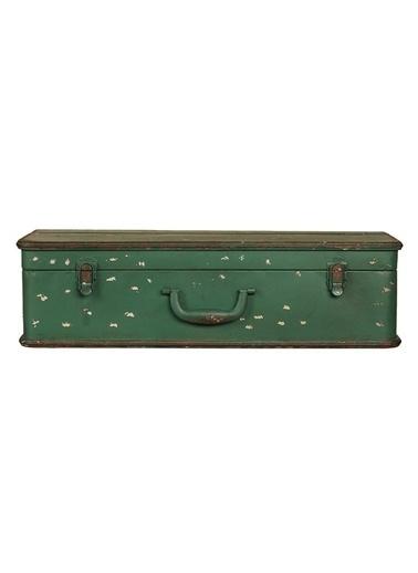 Warm Design Açılabilir Bavul Dekorlu Raf Yeşil